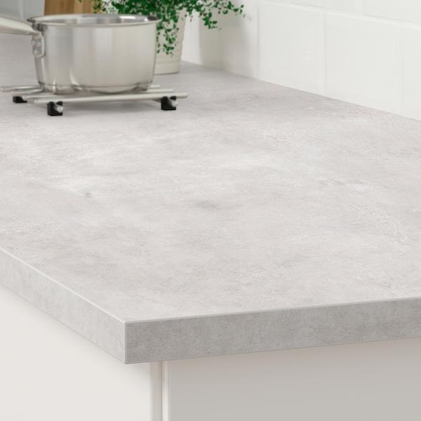 EKBACKEN Bordplade, lysegrå betonmønstret/laminat, 186x2.8 cm