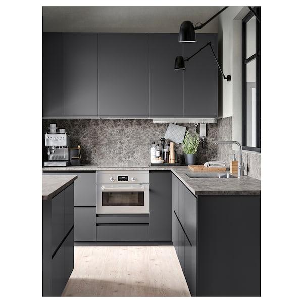 EKBACKEN Bordplade, mørkegrå marmormønstret/laminat, 186x2.8 cm