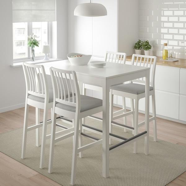 EKEDALEN Barbord og 4 taburetter, hvid/Orrsta lysegrå, 120 cm