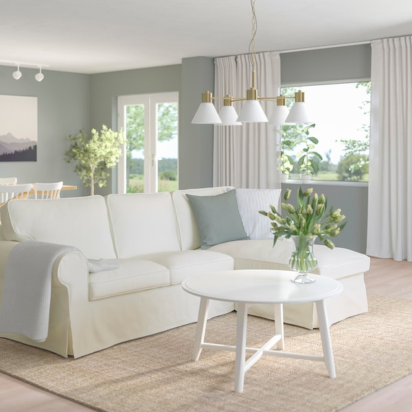 EKTORP 3-pers. sofa med chaiselong, Blekinge hvid