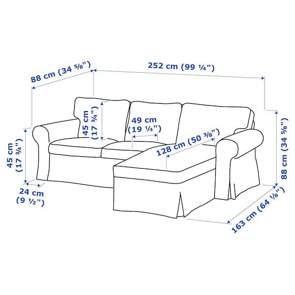 EKTORP 3-pers. sofa med chaiselong, Remmarn lysegrå