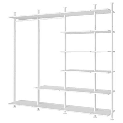 ELVARLI 4 sektioner/hylder, hvid, 303x51x222-350 cm