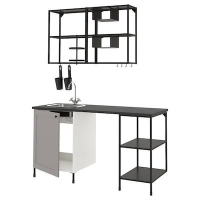 ENHET Køkken, antracit/grå stel, 163x63.5x222 cm