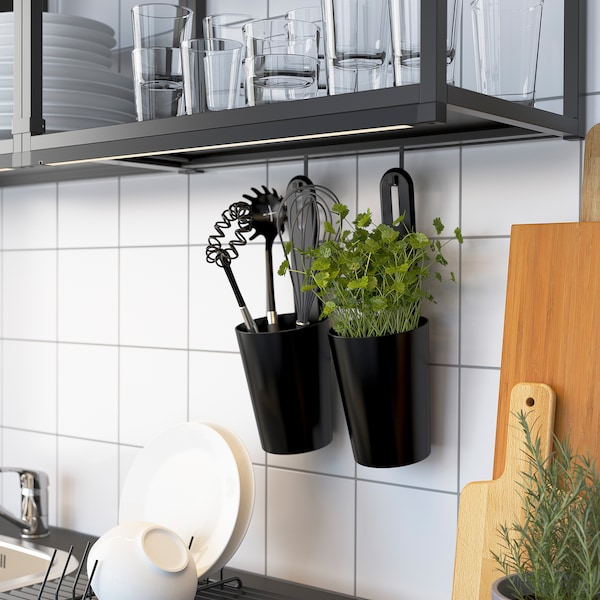 ENHET Køkken, antracit/hvid, 203x63.5x222 cm