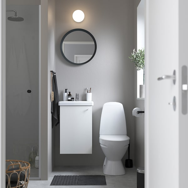 ENHET / TVÄLLEN Skab til vask med 1 låge, hvid/PILKÅN blandingsbatteri, 44x43x65 cm