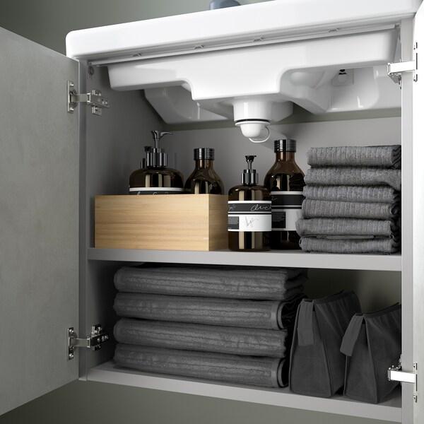 ENHET / TVÄLLEN Skab til vask med 2 låger, betonmønstret/grå PILKÅN blandingsbatteri, 64x33x87 cm
