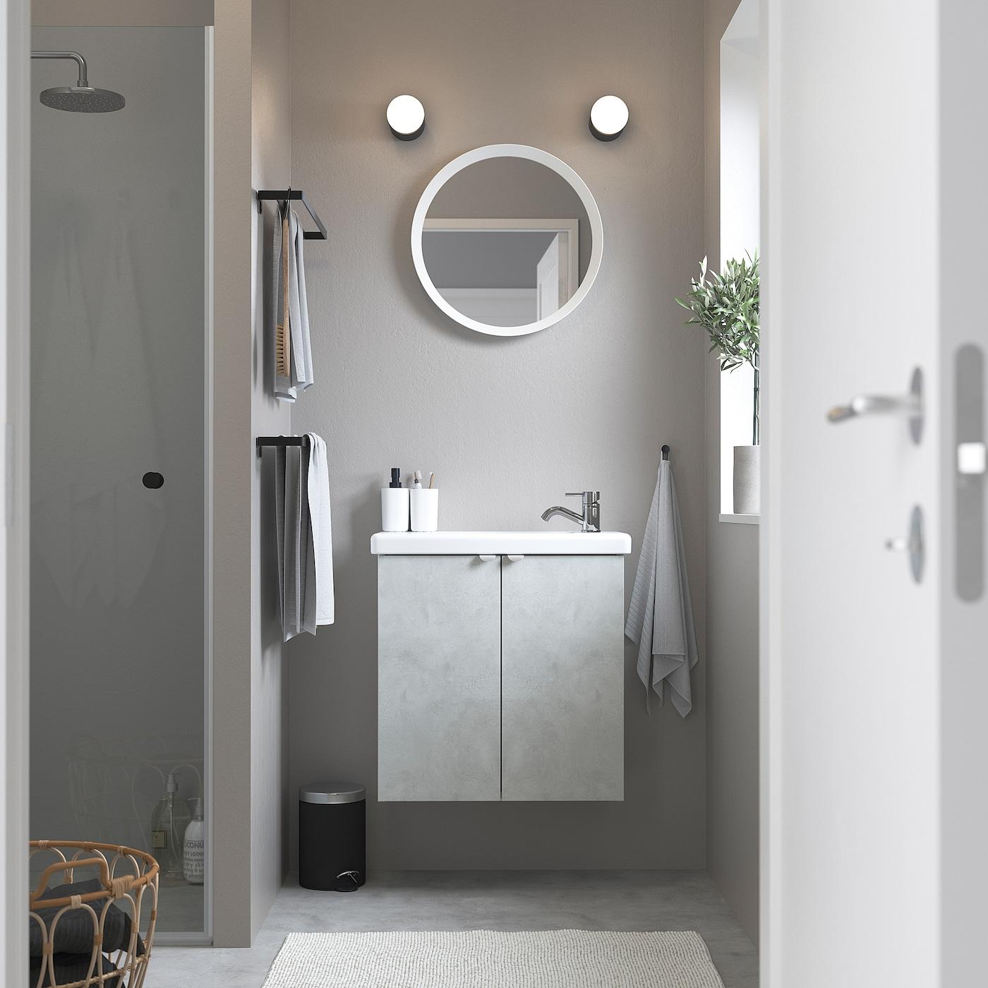Picture of: Enhet Tvallen Skab Til Vask Med 2 Lager Betonmonstret Hvid Pilkan Blandingsbatteri Ikea