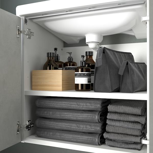 ENHET / TVÄLLEN Skab til vask med 2 låger, betonmønstret/hvid PILKÅN blandingsbatteri, 64x43x87 cm