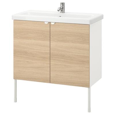 ENHET / TVÄLLEN Skab til vask med 2 låger, egetræsmønstret/hvid PILKÅN blandingsbatteri, 84x43x87 cm