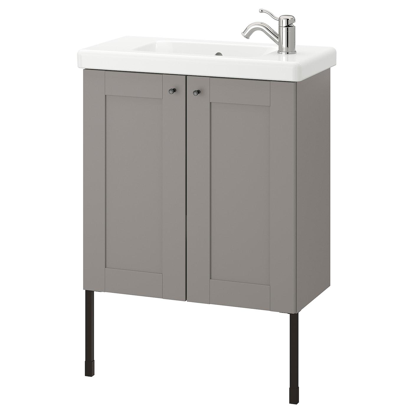 Picture of: Enhet Tvallen Skab Til Vask Med 2 Lager Gra Stel Gra Lillsvan Blandingsbatteri Ikea