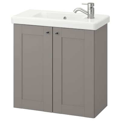 ENHET / TVÄLLEN Skab til vask med 2 låger, grå stel/grå PILKÅN blandingsbatteri, 64x33x65 cm