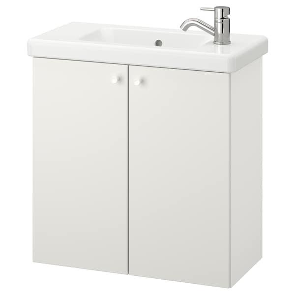 ENHET / TVÄLLEN Skab til vask med 2 låger, hvid/PILKÅN blandingsbatteri, 64x33x65 cm