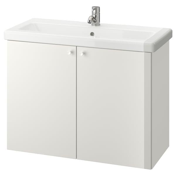 ENHET / TVÄLLEN Skab til vask med 2 låger, hvid/PILKÅN blandingsbatteri, 84x43x65 cm