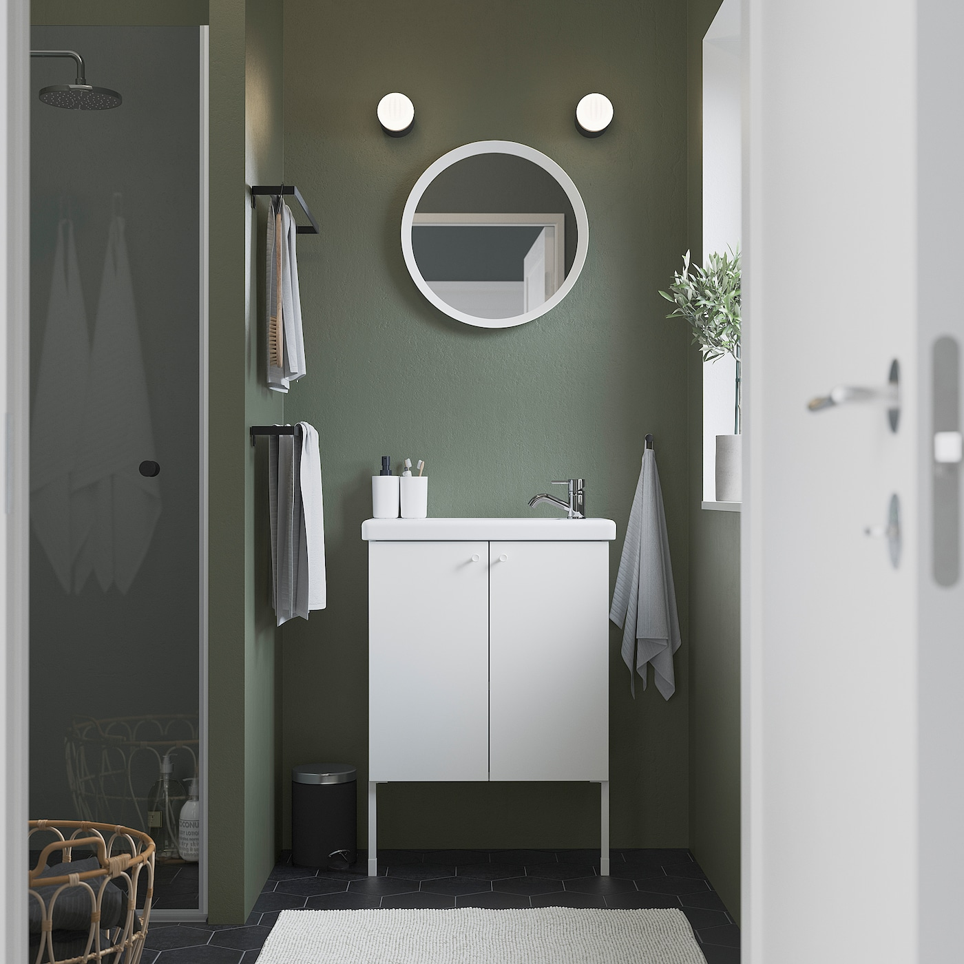 ENHET / TVÄLLEN Skab til vask med 2 låger, hvid/PILKÅN blandingsbatteri, 64x33x87 cm