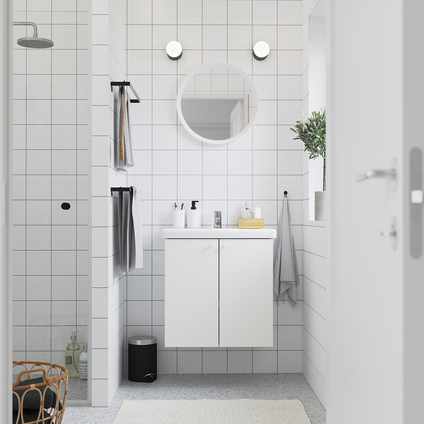 ENHET / TVÄLLEN Skab til vask med 2 låger, hvid/PILKÅN blandingsbatteri, 64x43x65 cm