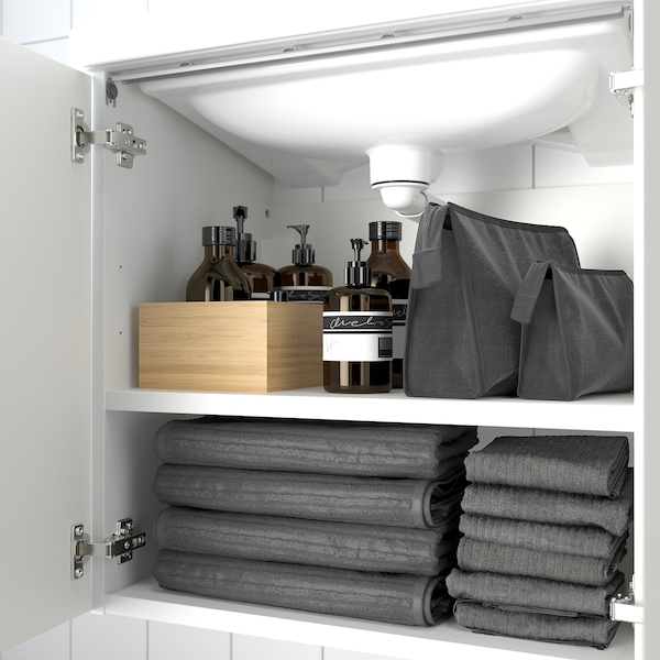 ENHET / TVÄLLEN Skab til vask med 2 låger, hvid/PILKÅN blandingsbatteri, 64x43x87 cm