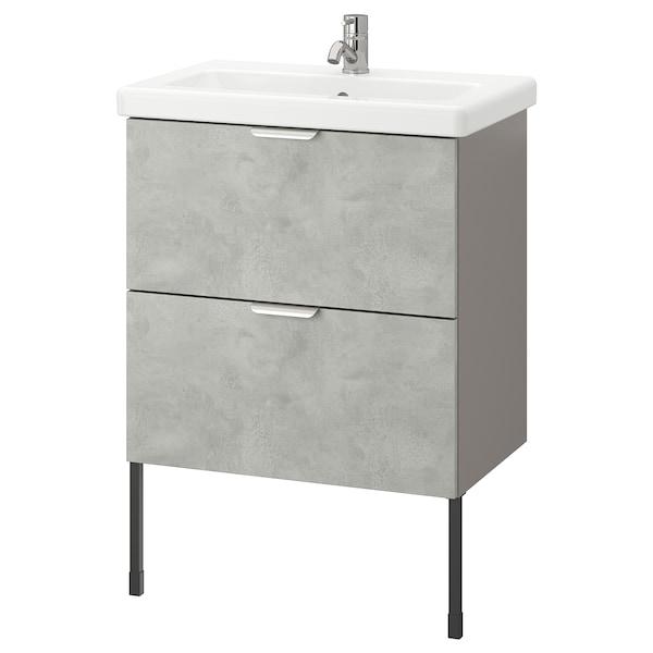 ENHET / TVÄLLEN Skab til vask med 2 skuffer, betonmønstret/grå PILKÅN blandingsbatteri, 64x43x87 cm