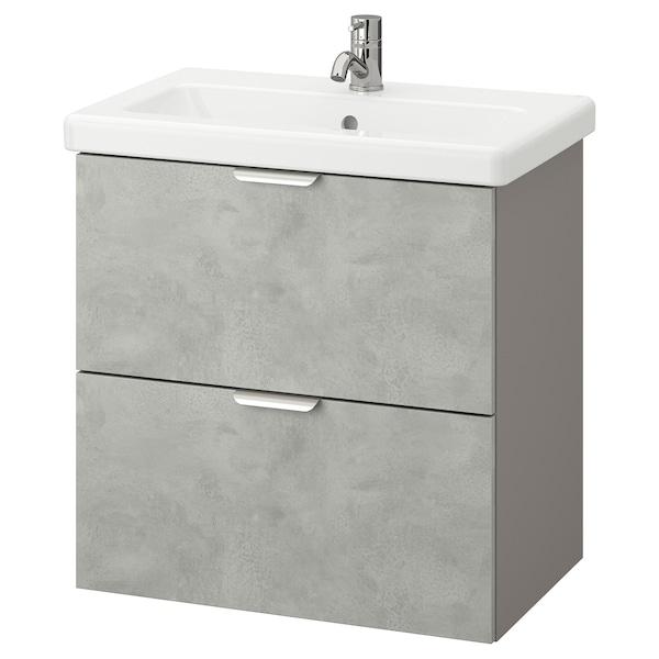 ENHET / TVÄLLEN Skab til vask med 2 skuffer, betonmønstret/grå PILKÅN blandingsbatteri, 64x43x65 cm