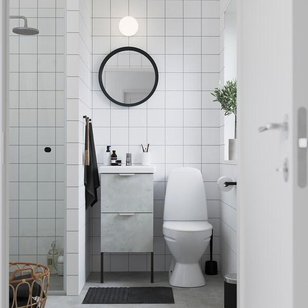 ENHET / TVÄLLEN Skab til vask med 2 skuffer, betonmønstret/grå PILKÅN blandingsbatteri, 44x43x87 cm