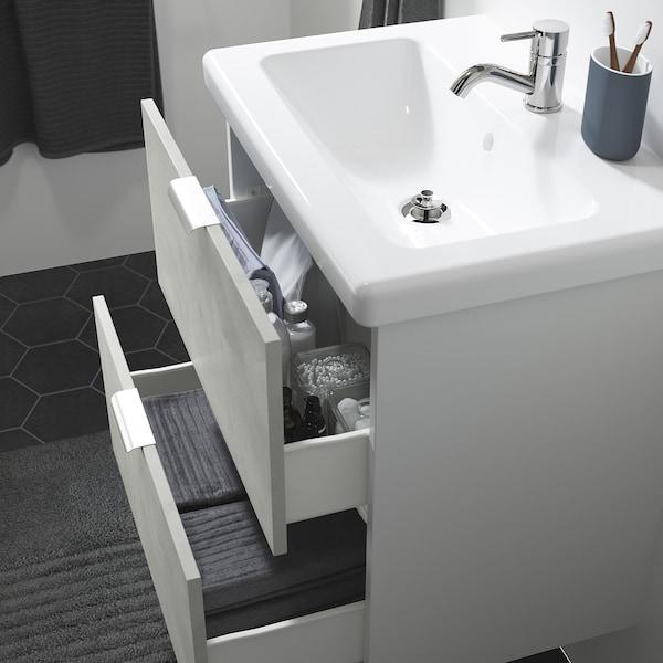 ENHET / TVÄLLEN Skab til vask med 2 skuffer, betonmønstret/hvid PILKÅN blandingsbatteri, 64x43x65 cm