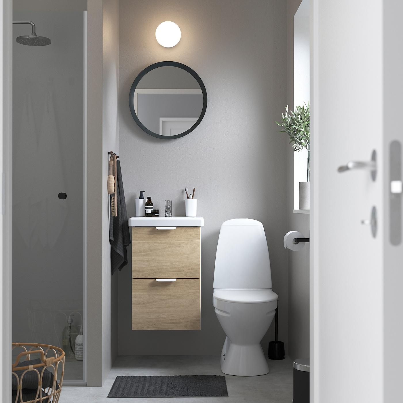 Picture of: Enhet Tvallen Skab Til Vask Med 2 Skuffer Egetraesmonstret Hvid Pilkan Blandingsbatteri Ikea