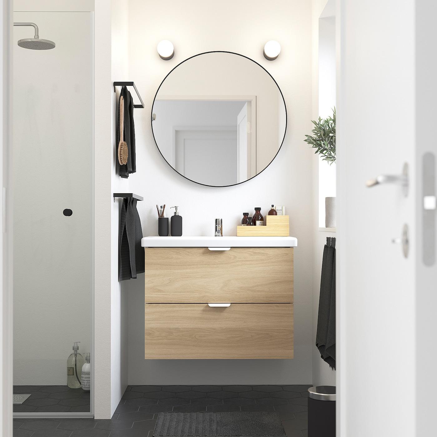 Enhet Tvallen Skab Til Vask Med 2 Skuffer Egetraesmonstret Hvid Pilkan Blandingsbatteri Ikea