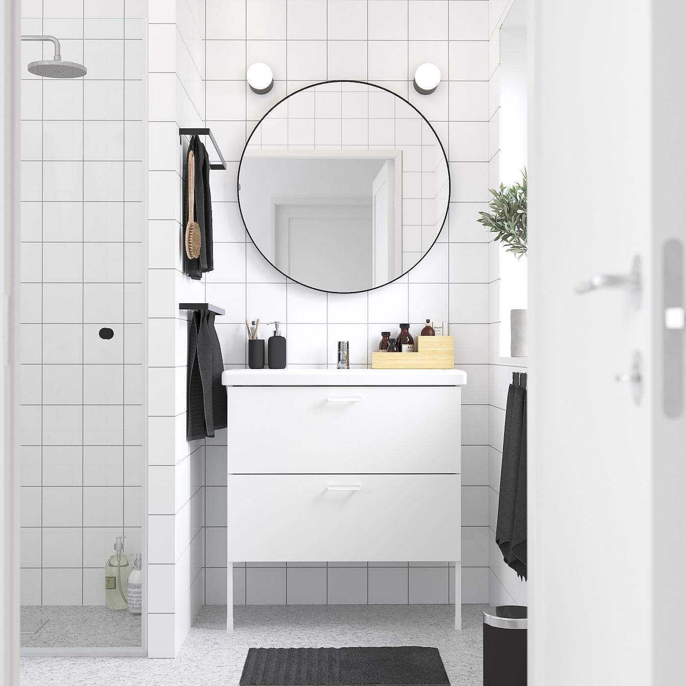 ENHET / TVÄLLEN Skab til vask med 2 skuffer, hvid/PILKÅN blandingsbatteri, 84x43x87 cm