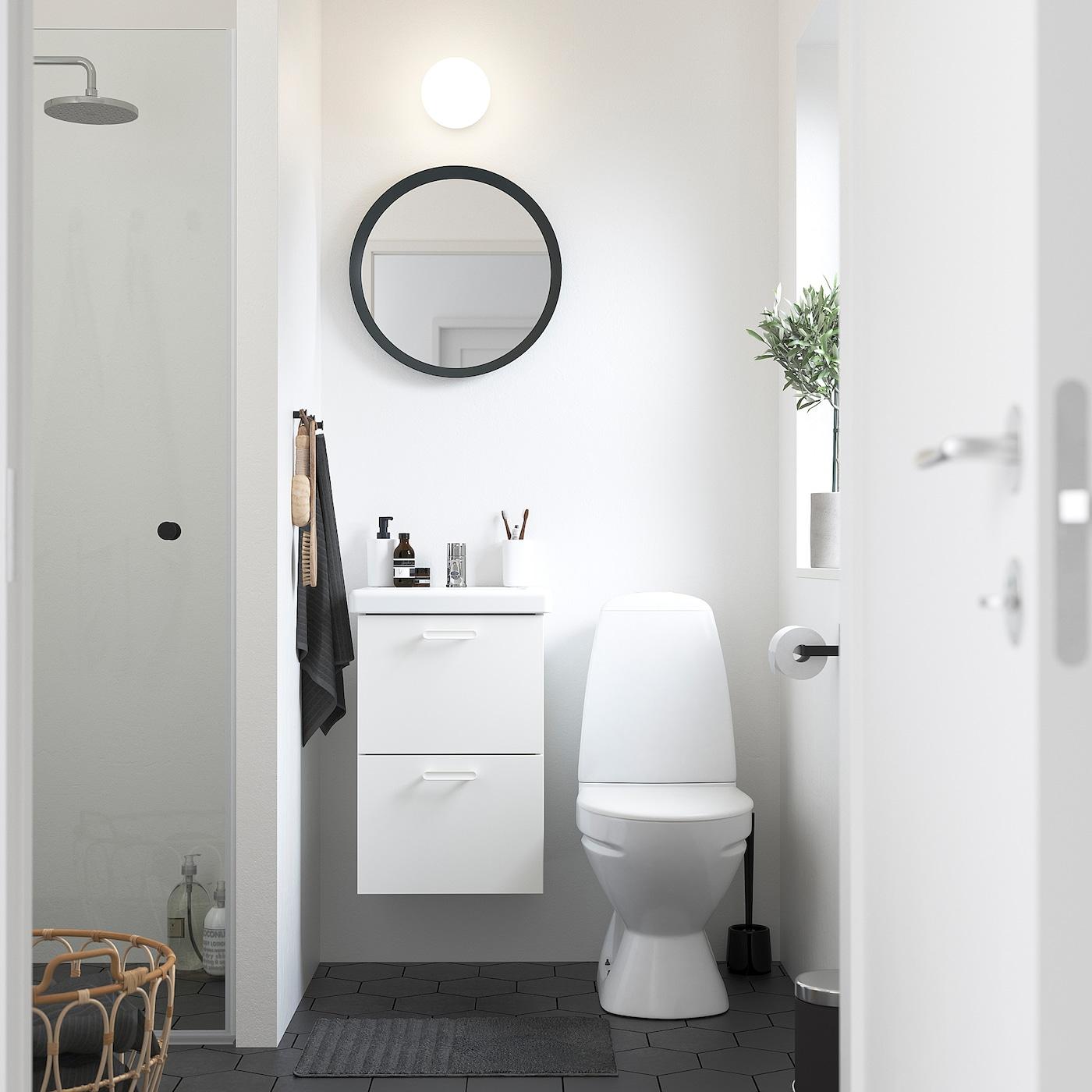 ENHET / TVÄLLEN Skab til vask med 2 skuffer, hvid/PILKÅN blandingsbatteri, 44x43x65 cm