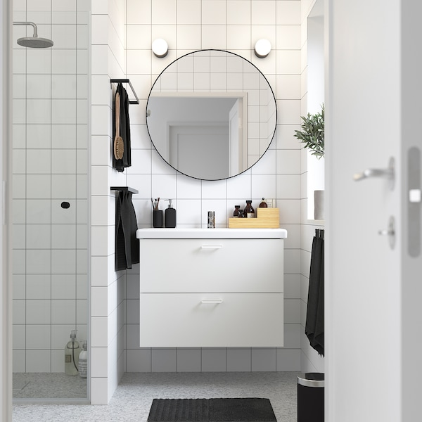 ENHET / TVÄLLEN Skab til vask med 2 skuffer, hvid/PILKÅN blandingsbatteri, 84x43x65 cm