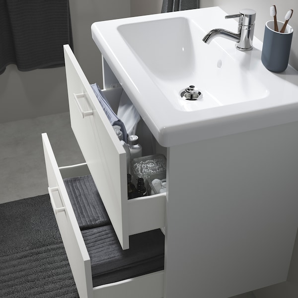 ENHET / TVÄLLEN Skab til vask med 2 skuffer, hvid/PILKÅN blandingsbatteri, 64x43x65 cm
