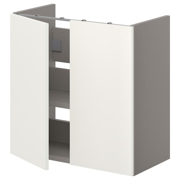 ENHET Underskab til vask med hylder/låger, grå/hvid, 60x32x60 cm