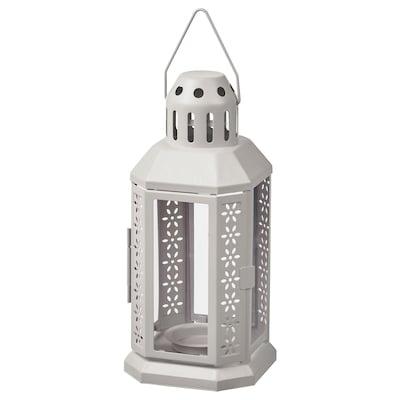 ENRUM Lanterne til fyrfadslys, inde/ude, grå, 22 cm