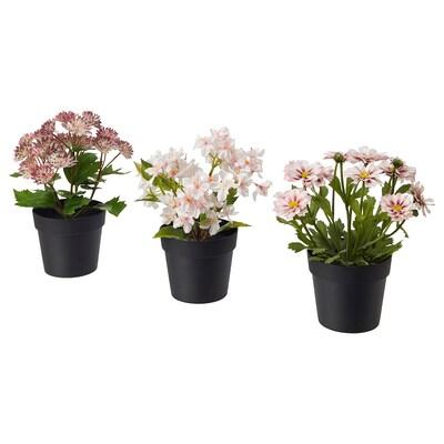 FEJKA Kunstig potteplante, indendørs/udendørs pink, 9 cm 3 stk