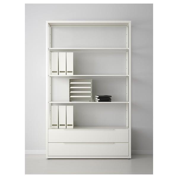 FJÄLKINGE Reol med skuffer, hvid, 118x35x193 cm