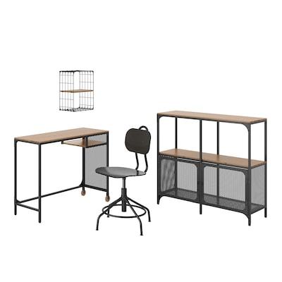 FJÄLLBO/KULLABERG / GULLHULT Skrivebords- og opbevaringskombina, og drejestol sort/fyr