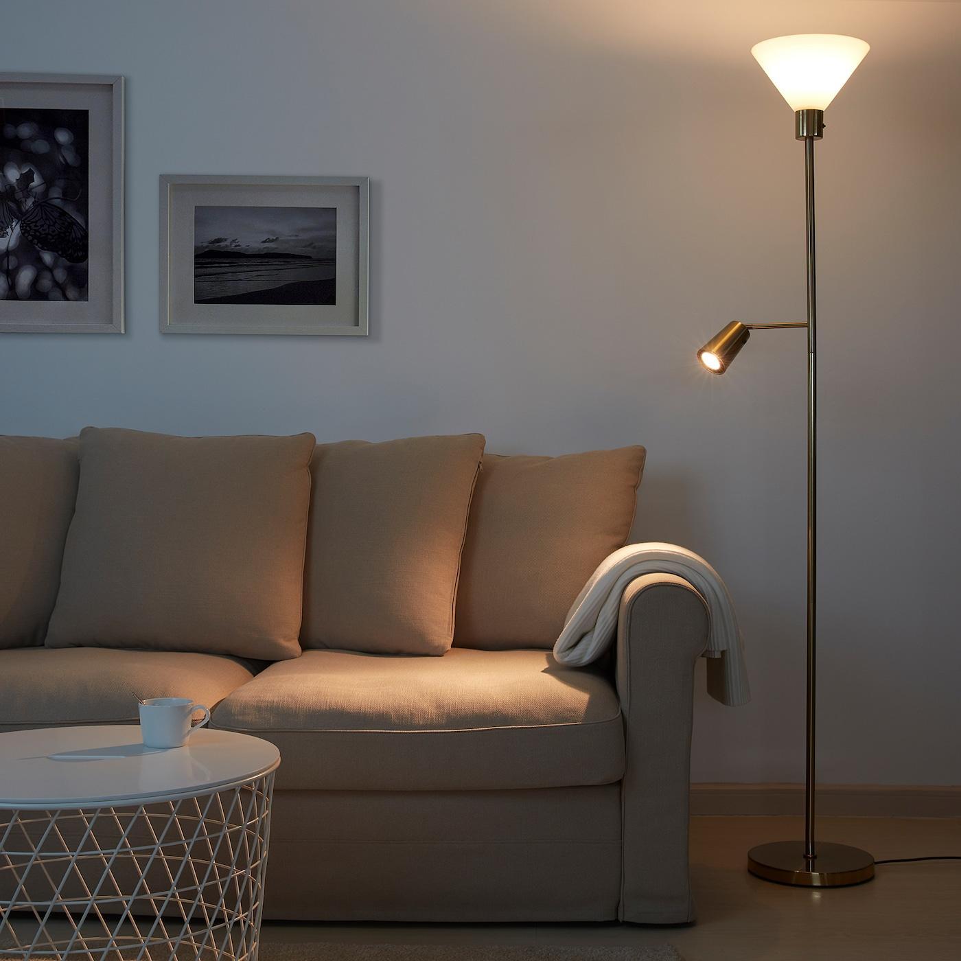 Picture of: Flugbo Gulvluplight Laeselampe Messingfarvet Glas Ikea
