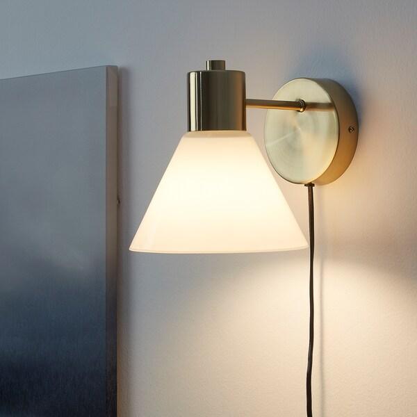 FLUGBO Væglampe, messingfarvet/glas