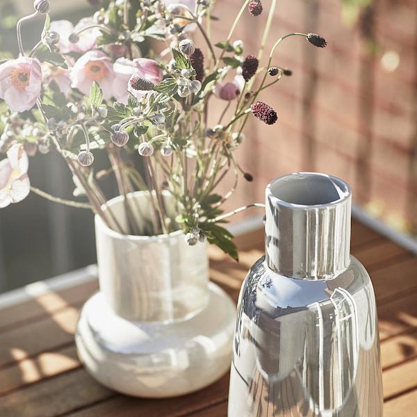 FNITTRIG Vase, hvid, 17 cm