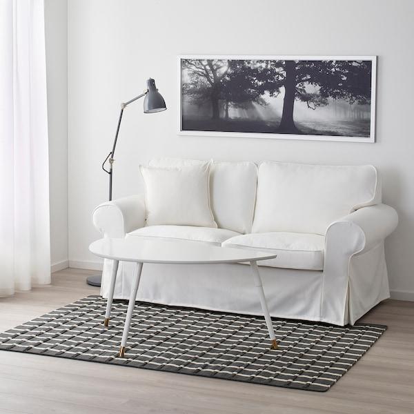 FOULUM tæppe, fladvævet håndlavet grå/hvid 195 cm 133 cm 7 mm 2.59 m² 2225 g/m²