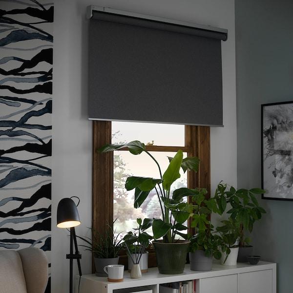 FYRTUR Mørklægningsrullegardin, trådløst/batteridrevet grå, 120x195 cm