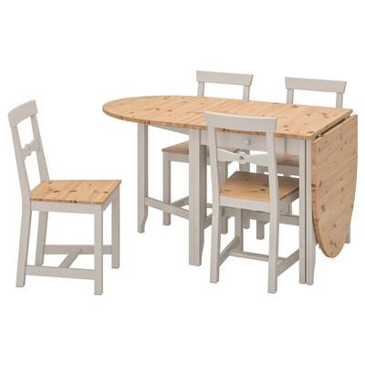GAMLEBY Bord og 4 stole, lys antik bejdse/grå, 67 cm