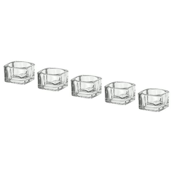 GLASIG Fyrfadsstage, klart glas, 5x5 cm