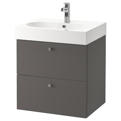 GODMORGON / BRÅVIKEN Skab til vask med 2 skuffer, Gillburen mørkegrå/BROGRUND blandingsbatteri, 61x49x68 cm