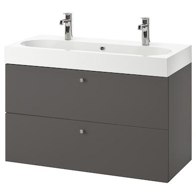 GODMORGON / BRÅVIKEN Skab til vask med 2 skuffer, Gillburen mørkegrå/BROGRUND blandingsbatteri, 100x48x68 cm