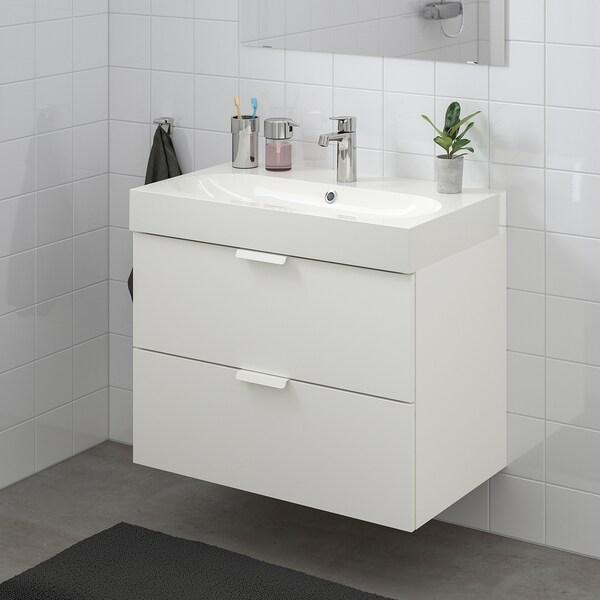 GODMORGON / BRÅVIKEN Skab til vask med 2 skuffer, hvid/BROGRUND blandingsbatteri, 80x48x68 cm