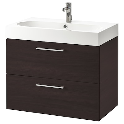 GODMORGON / BRÅVIKEN skab til vask med 2 skuffer sortbrun/BROGRUND blandingsbatteri 80 cm 80 cm 48 cm 68 cm