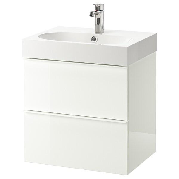 GODMORGON / BRÅVIKEN skab til vask med 2 skuffer højglans hvid/BROGRUND blandingsbatteri 61 cm 60 cm 49 cm 68 cm