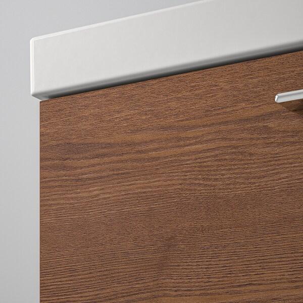 GODMORGON / ODENSVIK Skab til vask med 4 skuffer, asketræsmønster med brun bejdse/DALSKÄR blandingsbatteri, 123x49x64 cm