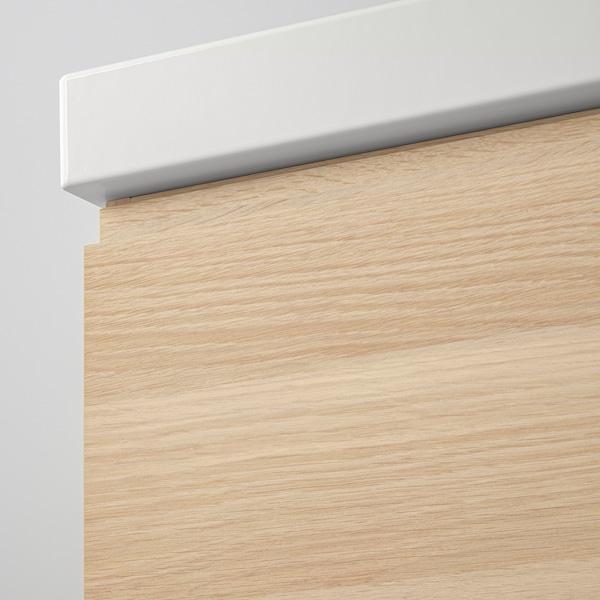 GODMORGON / ODENSVIK Skab til vask med 4 skuffer, egetræsmønster med hvid bejdse/DALSKÄR blandingsbatteri, 123x49x64 cm
