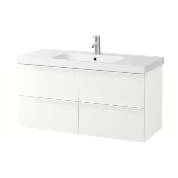 GODMORGON / ODENSVIK Skab til vask med 4 skuffer, højglans hvid/DALSKÄR blandingsbatteri, 123x49x64 cm